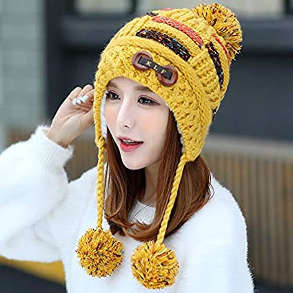 JINGB-hat Tide hat Female Winter Sweet Cute Girl line Cap Warm Thick Winter hat Pullover Knit hat Windproof Cap Color : Yellow