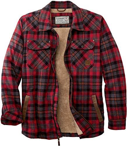 Legendary Whitetails Men's Tough as Buck Berber Lined Flannel Shirt Jacket-Casual Zip Front Regular Fit Plaid Leather Trim