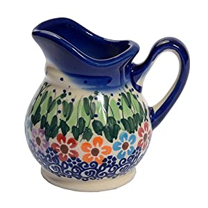 Traditional Polish Pottery, Handcrafted Ceramic Cream or Milk Jug 100ml, Boleslawiec Style Pattern, J.201.Daisy