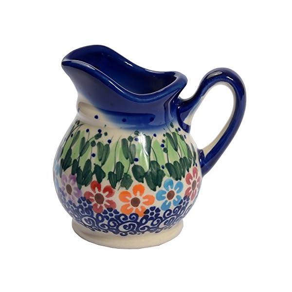 Traditional Polish Pottery, Handcrafted Ceramic Cream or Milk Jug 100ml, Boleslawiec Style Pattern, J.201.Daisy