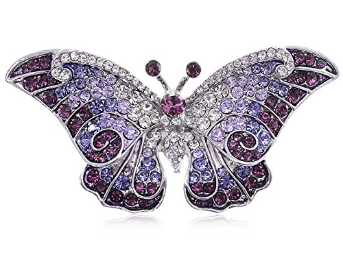 Empress Monarch Winged Butterfly Swarovski Crystal Rhinestones Brooch Pin - Purple