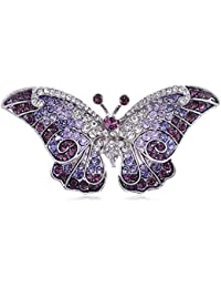 Fashion Jewelry Jewelry & Watches Ladies White Lace Gem Butterfly Brooch