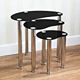 Home Discount Cara Nest Of 3 Tables, Black Glass Modern Furniture