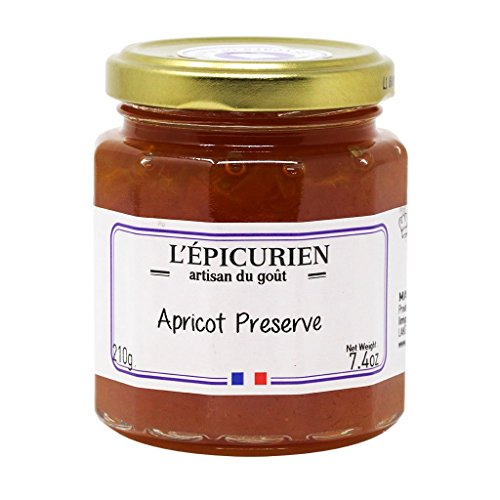 L'Epicurien, All-Natural Apricot Jam (Made in France) | Non-GMO | Gluten-Free, 7.4 Ounce Jar