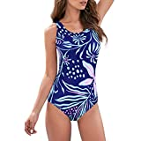 Zando One Piece Swimsuits for Women Plus Size Bathing Suits Athletic Training Swimsuit Tummy Control Slimming Modest Swimwear Blue-Red Flower Print 6-8