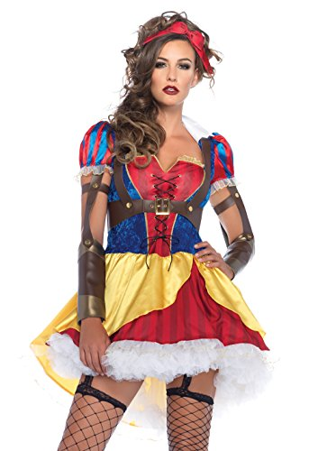 Leg Avenue Women's 3 Piece Rebel Snow White Costume, Multicolor, ()