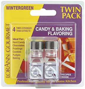 Lorann Oils Candy and Baking Flavoring Bottle (2 Pack), .125 oz, Winter Green