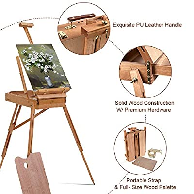 Tangkula Wooden French Easel Stand with Sketch Box, Drawer & Palette Foldable Folding Portable Easel Case with Shoulder Strap Solid Beech Wood Construction Art Easel
