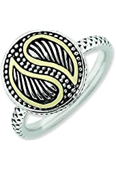 2.5mm Sterling Silver and 14k Stackable Expressions Antiqued Ring - Ring Size Options: 10 5 6 7 8 9