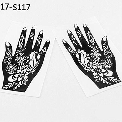 2 Pcs Henna Stencil Temporary Hand Tattoo Body Arts Sticker Template Tools - 117 KaariFirefly
