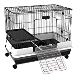 PawHut Rabbit Cage Rolling Small Animal House Bunny Habitat Pull Out Tray with Wheels Pet Furniture