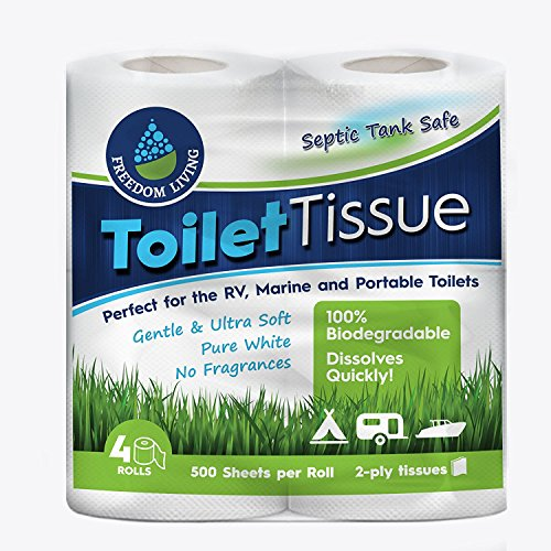 Septic Tank Safe Toilet Tissue (2-Ply, 4 Rolls) For RV, Camping & Marine, Biodegradable, - Natural Alternative to Septic System Treatment Chemicals, Cleaner, Enzymes, Chlorine Tablets
