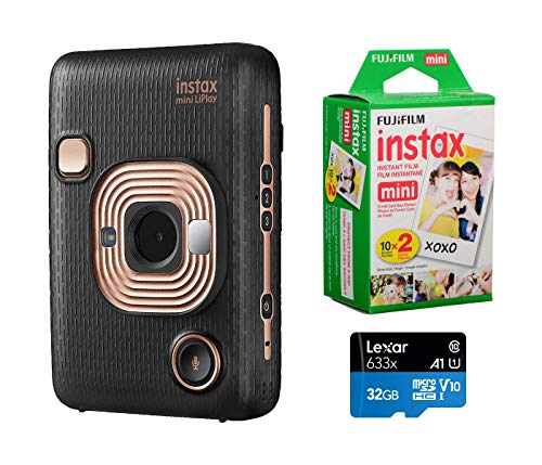 Fujifilm Instax Mini Liplay Hybrid Instant Camera (Elegant Black), Bundle Instax Mini Instant Daylight Film, Twin Pack (20 Exposures), 32GB MicroSD Card