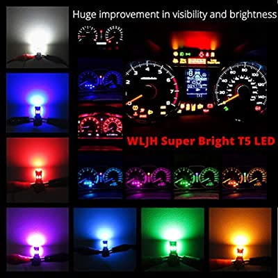 WLJH High Bright Yellow T5 Dash Light Bulbs Car Replacement Instrument Cluster Gauge Panel Warning Indicator Lights 73 74 286 2721 Led Bulb with PC74 Twist Lock Sockets,Pack of 10: Automotive