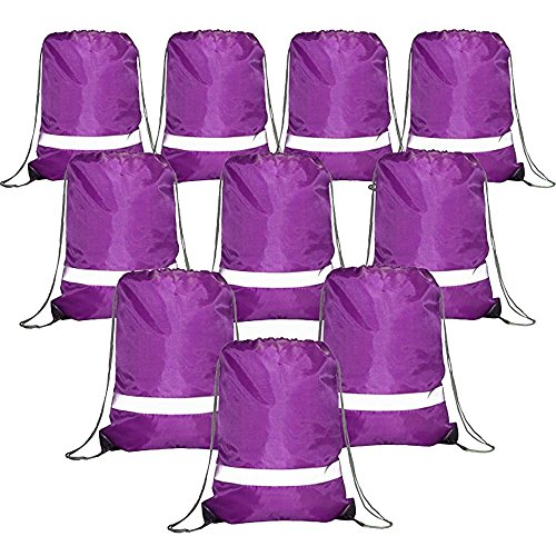 Drawstring Backpack Bags Reflective Bulk Pack, Promotional Sport Gym Sack Cinch Bags (10 Purple)