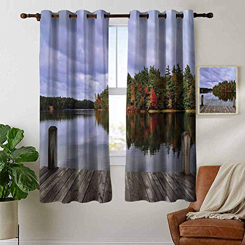 (petpany Grommet Curtains Lake,Wooden Dock and Island Ablaze in Fall Splendor Ludington State Park in Michigan USA,Multicolor,Blackout Draperies for Bedroom Window 52