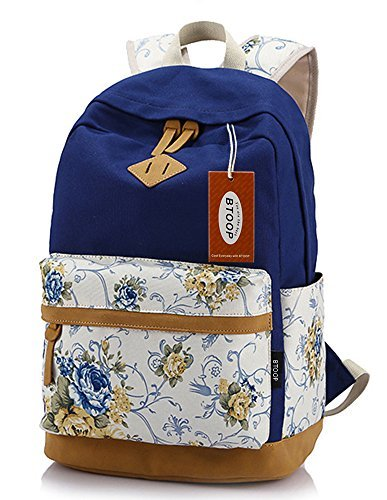 BTOOP Casual Bookbags Canvas School Backpacks for Teenager Girls with Laptop Compartment (Navy Blue)