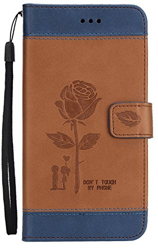 LG K4 2017 / Phoenix 3 / Fortune / M160 / Risio 2 / LV1 / Aristo MS210 Case, Double Color Leather Embossed Roses Flower Wallet Magnet Cover Hand Strap Built-in Credit Card Slot Kick Stand Blue Brown