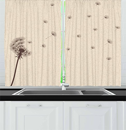 Vintage 1 Garden (Lunarable Cream Kitchen Curtains, Blown Dandelion Blossom and Flying Fluffy Petals Fragile Garden Meadow Plant Vintage, Window Drapes 2 Panel Set for Kitchen Cafe, 55 W X 39 L Inches, Cream Brown)