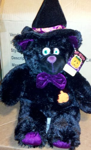 Large 16 inch Plush Black Halloween Cuddle Cat with Hat and purple -