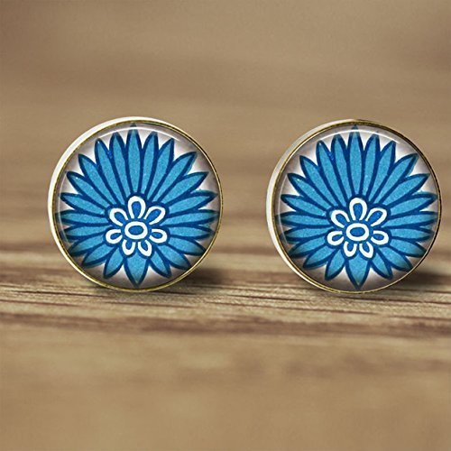 Vintage Cute Asian Beauty with Blue Tiny Flower Earrings Accessories-Antique Earrings-Blue Tiny Flower Ear Rings-Silver Post Glass Jewellery-Handmade Jewelry- Glass Fashion Jewelry for Women from Huang YIQi