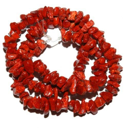 Chip Bracelet Coral Red (CRL137 Dark Red Sponge Coral Small 6mm - 12mm Gemstone Chip Beads 15'' Crafting Key Chain Bracelet Necklace Jewelry Accessories Pendants)