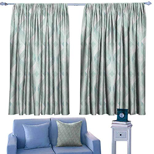 Mannwarehouse Seafoam Noise Reduction Curtain Tangled Lines with Rhombus Pattern Symmetrical Geometric Composition for Living, Dining, Bedroom (Pair) 55
