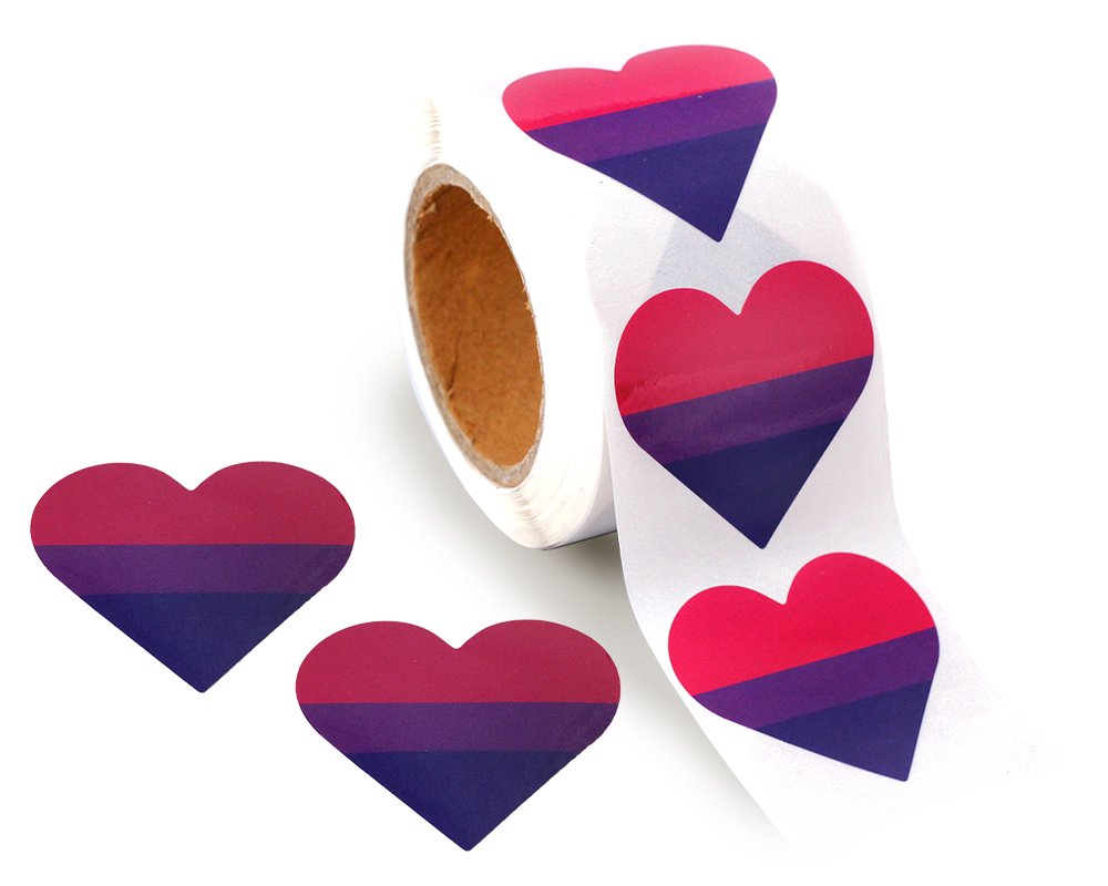Bisexual Pride Stickers on a Roll - Heart Shaped (250 Stickers) - Support LGBT Causes