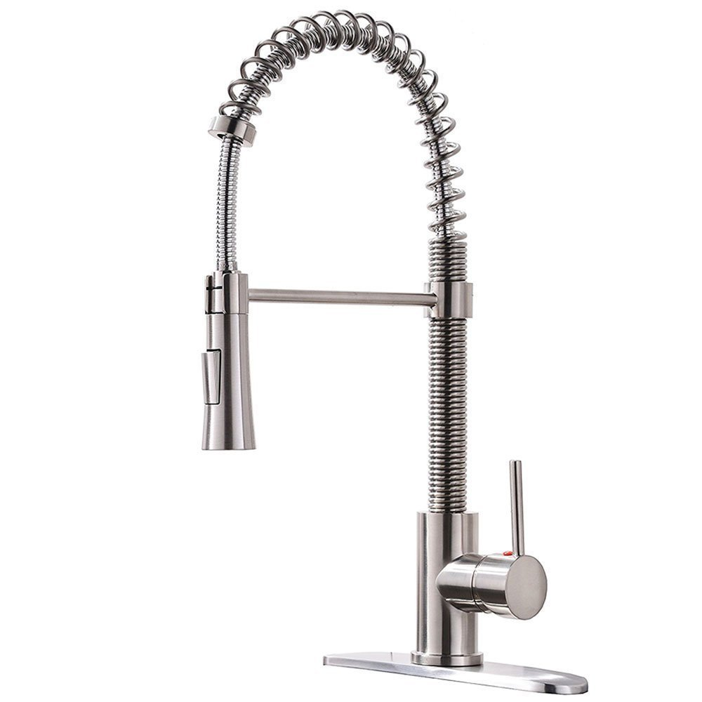 KINGO HOME Lead Free Stainless Steel Single Lever Handle Pull Down Sprayer Brushed Nickel Kitchen Faucet, Kitchen Sink Faucet With Deck Plate by KINGO HOME