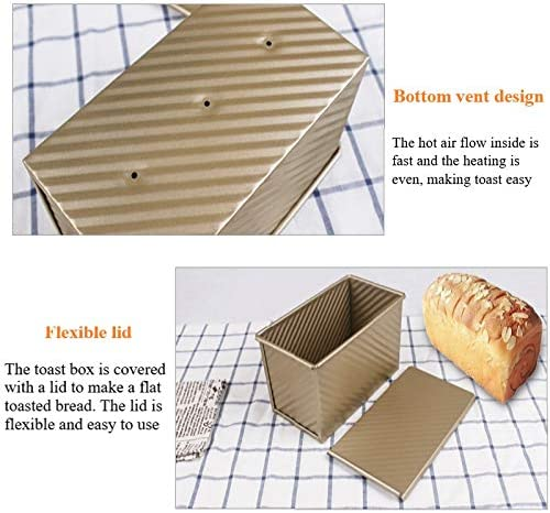 stampo a sgancio rapido stile ondulato per cottura rapida. Teglia rettangolare dorata per pane con copertura latta antiaderente per pane in acciaio al carbonio con coperchio scorrevole