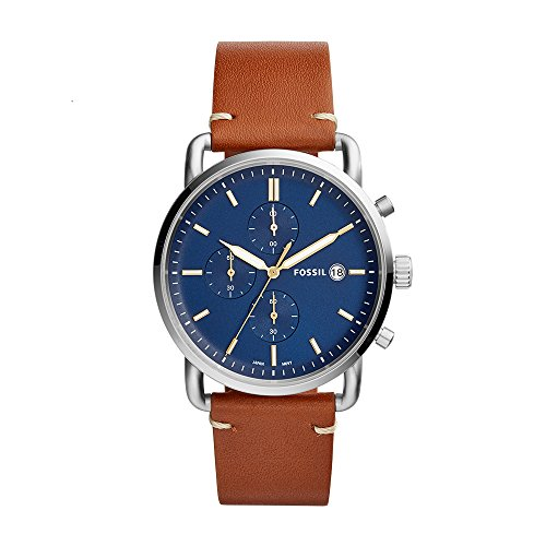 Fossil Men's The The Commuter Stainless Steel Quartz Watch with Leather Calfskin Strap, Brown, 22 (Model: FS5401) - Fossil Mens Brown Leather