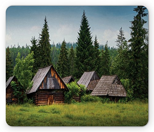 Old Hill Print (Lunarable Scenery Mouse Pad, Abandoned Wooden Hoses with Old Roofs in a Forrest Hills of the Mountain Print, Standard Size Rectangle Non-Slip Rubber Mousepad, Green and Brown)