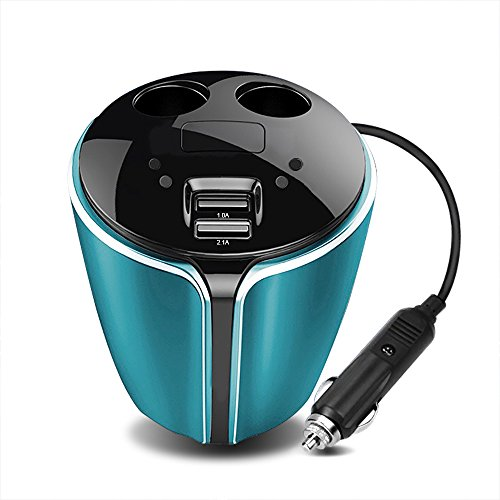 CARMATE Car Cup Charger 2 Cigarette Lighter with 2 USB Car Charger Multiple Ports 12V 24V Car Charger Mobile Phone Charging For iPhone and (Multiple Cigarette)