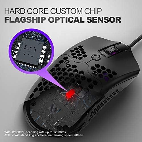 Souris Optique Zsstushu M5 USB2.0 12000 DPI Max réglable rougeoyant coloré Filaire Gaming Mouse, Longueur: 1.7m (Color : Black) Black