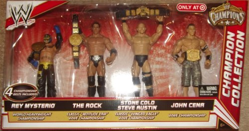 Mattel WWE Wrestling Exclusive Champion Collection Action Figure 4-Pack Rey Mysterio, The Rock, Steve Austin & John Cena [4 Championship Belts!] (Wwe Eagle Belt compare prices)