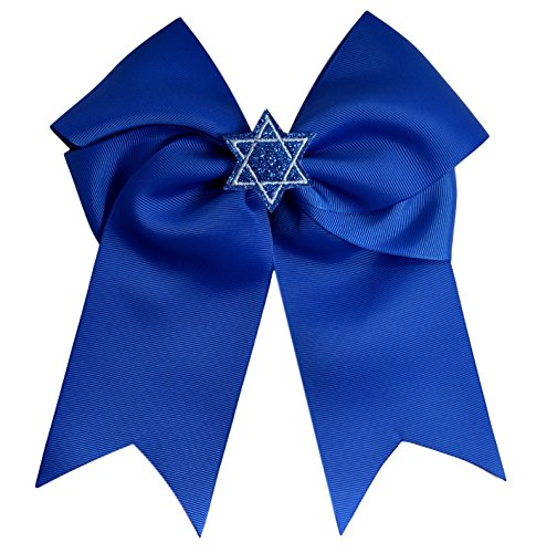 Hanukkah Blue Star of David Glitter 7.5 Inch Hair Bow By Funny Girl Designs (Royal Blue Bow with French Clip)