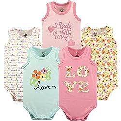 Luvable Friends Baby Girls' Sleeveless Cotton Bodysuits