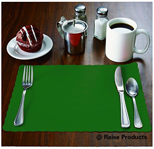 Placemat Paper Hunter (Raise Flat Disposable Paper Placemats, Hunter Green, Scalloped Edge, 10