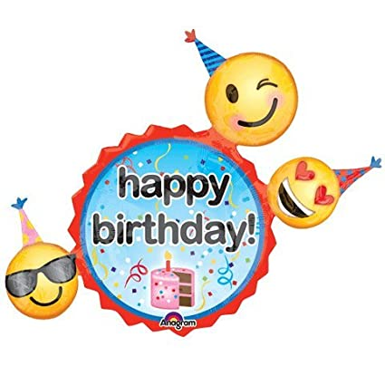 Emoji Birthday Wishes Super Shape Foil Balloon