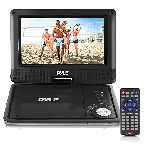Pyle 9-Inch Portable DVD and CD Player - Built-in Rechargeable Battery, Dual Full Range Speaker, USB/SD, Headphone Jack, Remote Control w/ Cigarette Lighter Car Charger PDV905BK (Region Portable Player Free Dvd)