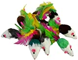 Real Rabbit Fur Mice with Feathers Cat Toys 12-pack
