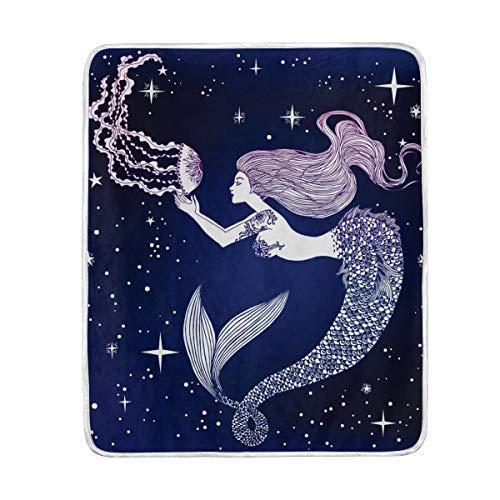 DOSHINE Plaid, Océan Mer sirène méduses Galaxy Doux léger Warmer couvertures 127 x 152,4 cm pour canapé lit Chaise de Bureau