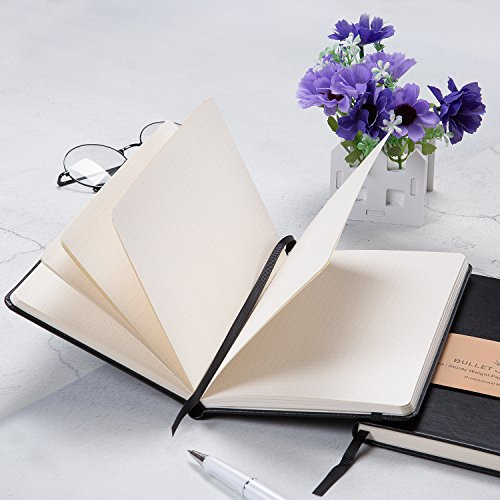 Dotted Grid Notebook/Journal - Dot Grid Hard Cover Notebook, Premium Thick Paper with Fine Inner Pocket, Black Smooth Faux Leather, 5''×8.25'' Photo #7