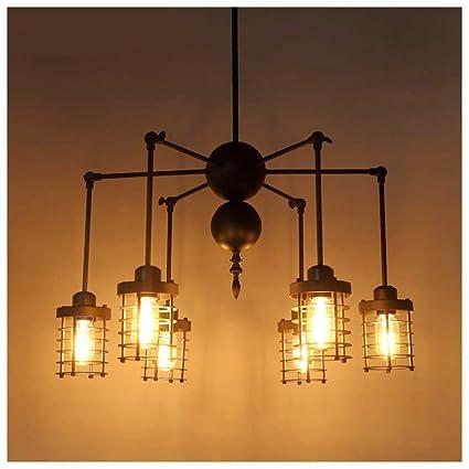 YliJkeT Vintage DIY Araña araña de metal luces de techo 6 ...