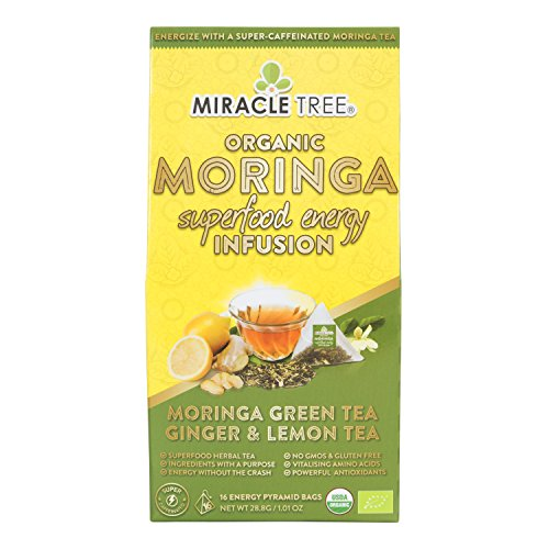 Miracle Tree's Energizing Moringa Infusion - Green Tea, Ginger & Lemon | Super Caffeinated Blend | Healthy Coffee Alternative, Perfect for Focus | Organic Certified & Non-GMO | 16 Pyramid Sachets