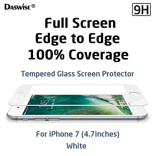 Daswise Screen Protector for iPhone 7, 2016 Full Screen Anti-scratch Tempered Glass Protectors with Curved Edge, Cover Edge-to-Edge, Screens from Drops, HD Clear, Bubble-free, Shockproof (4.7 White)