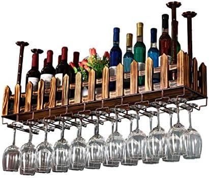 LJWJ Estante para Vinos, Bar, Restaurante, Colgante, Estante para Copas de Vino, Soporte para Copas de Vino Al Revés de Madera Iza Estante para Botellas de Vino para Colgar en el Techo Estante para B