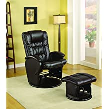 Coaster Rimini Euro Faux Leather Glider Recliner and Ottoman Set in Brown