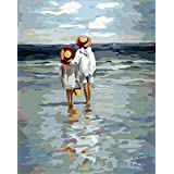 [WOODEN FRAMED] Diy oil painting, paint by number kit- See the Sea 16*20 inch.