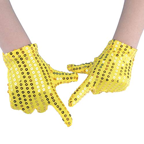 JISEN Child Costume Dress up Dance Sequin Cosplay Party Performance Gloves Age 3-7 Yellow